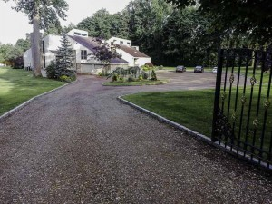 Blacktop Driveway Construction Base Installation in Brookhaven, New York.