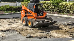 Excavating a parking lot for new construction in Huntington New York