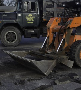 Extending an asphalt parking lot in Bayport New York excavation stage