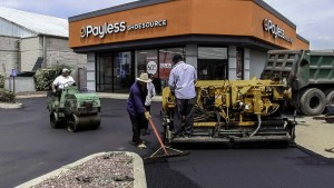 Extending an asphalt parking lot in brightwaters New York asphalt install stage