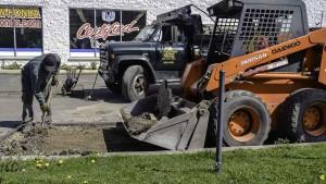 Hot Asphalt Parking Lot Repair in Islandia New York, Excavation Stage.