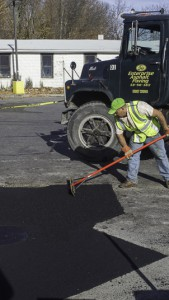 Hot Asphalt Parking Lot Repair in Islip New York, Asphalt Installation Stage.