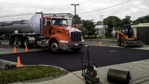 Hot Asphalt Parking Lot Repair in Ronkonkoma New York, completed pothole repair.